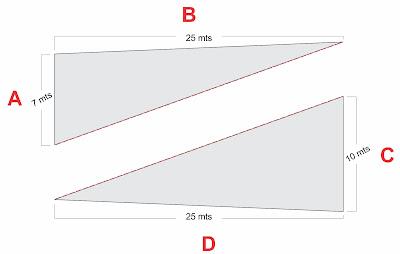 Calcular Metragem do Terreno com medidas diferentes dividindo em triangulos