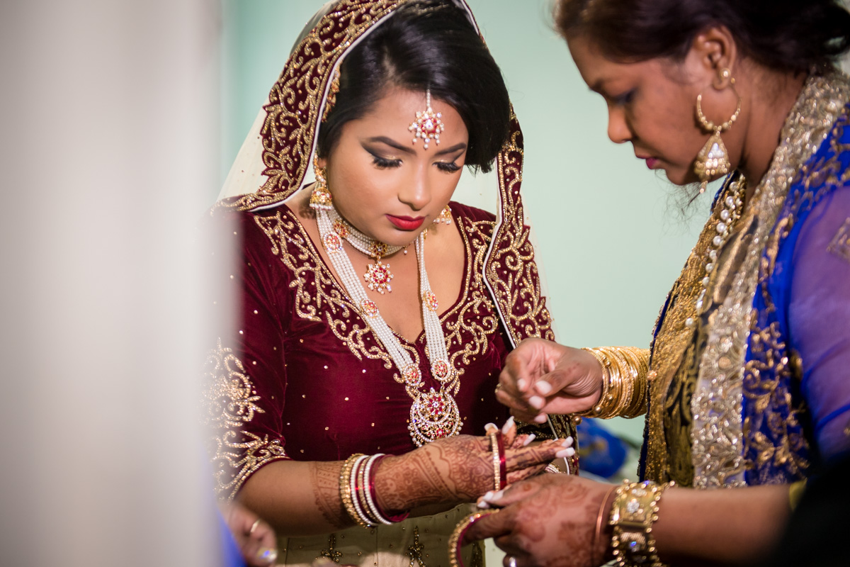 Beautiful jewelries and style of unique colored dresses characterizes all Indian Brides