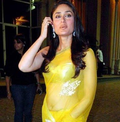 Kareena Kapoor Navel Show Photos In Yellow Saree