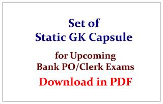 Set of Static GK Capsule in PDF