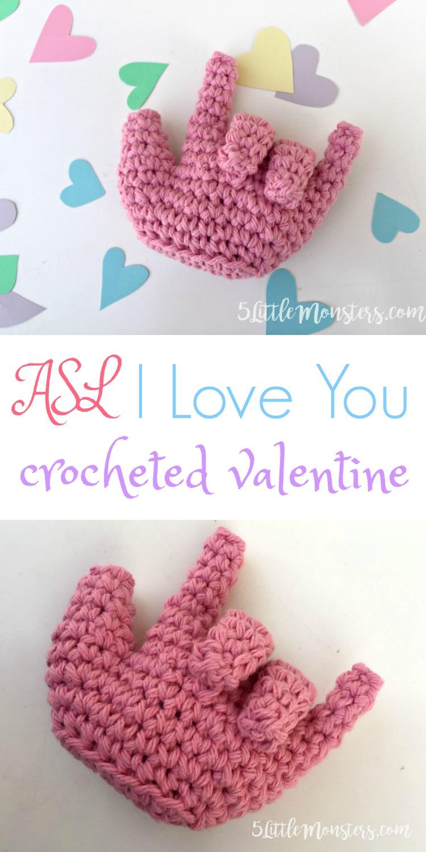 5 Little Monsters Asl I Love You Crocheted Valentine