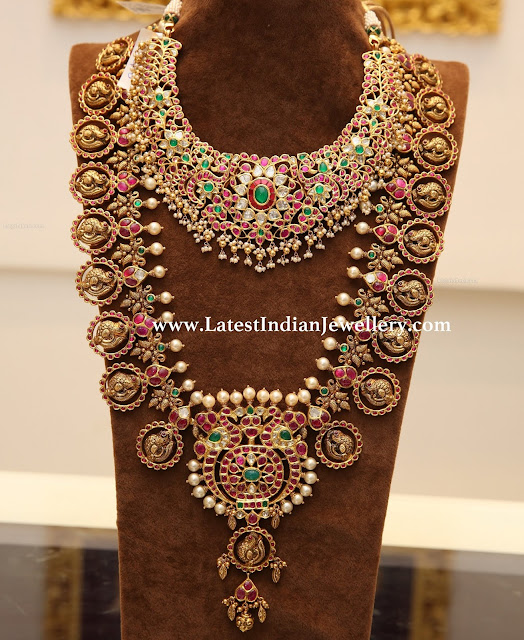 Kundan Necklace Peacock Bottu Mala