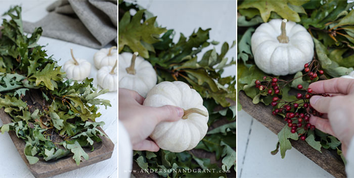 Learn to layer pieces of nature gathered outdoors to create a simple yet stylish centerpiece for your fall or Thanksgiving dinner table.  |  www.andersonandgrant.com