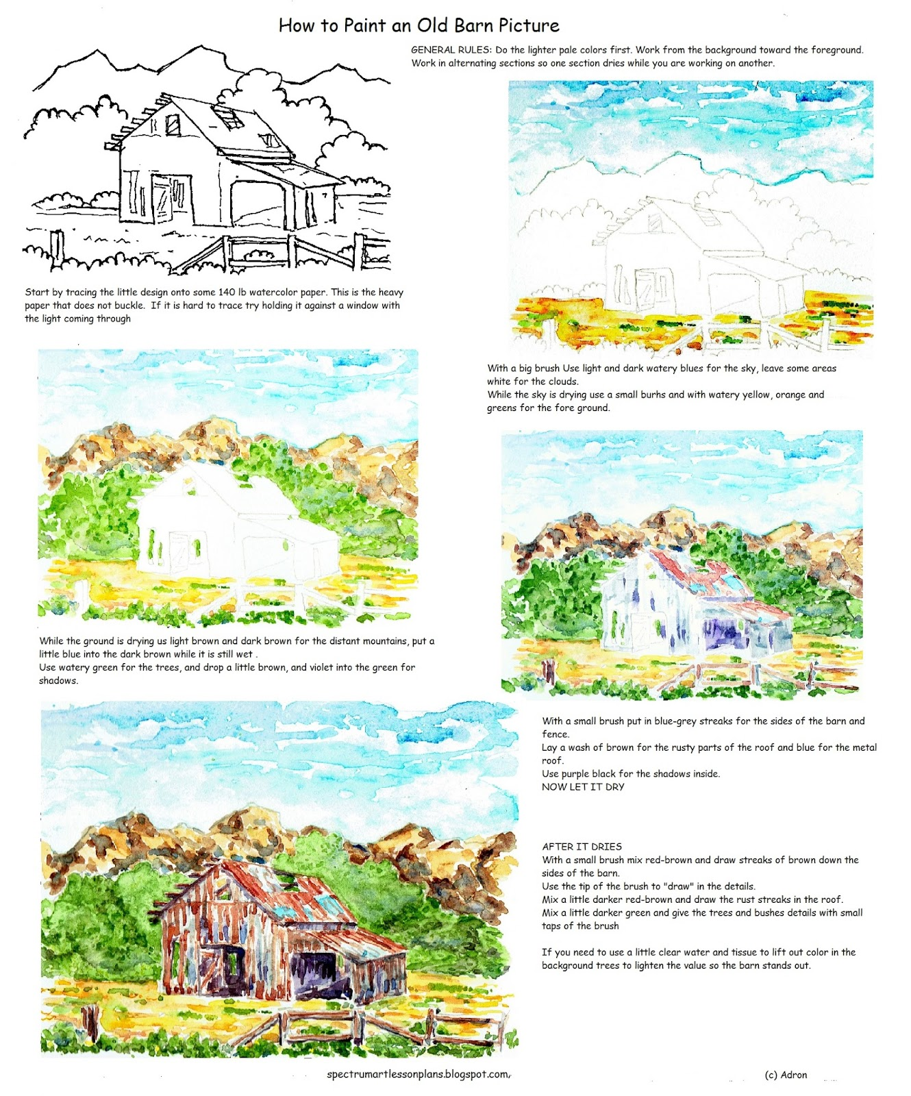 Adron S Art Lesson Plans How To Paint An Old Rustic Barn