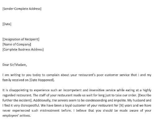Sample Complaint Letter for Poor Customer Service