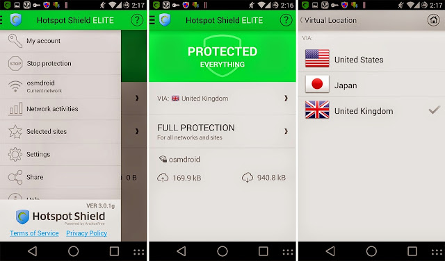 Screenshot Hotspot Shield VPN Elite
