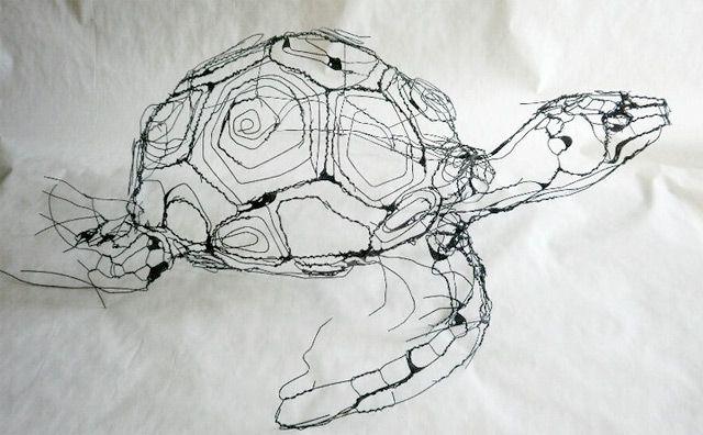Escultura de tortuga  con alambre