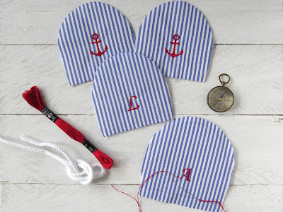 nautical egg cosies with monogram and anchor