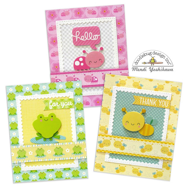 Doodlebug Design Spring Things Ladybug, Frog & Bumblebee Card Trio Set by Mendi Yoshikawa
