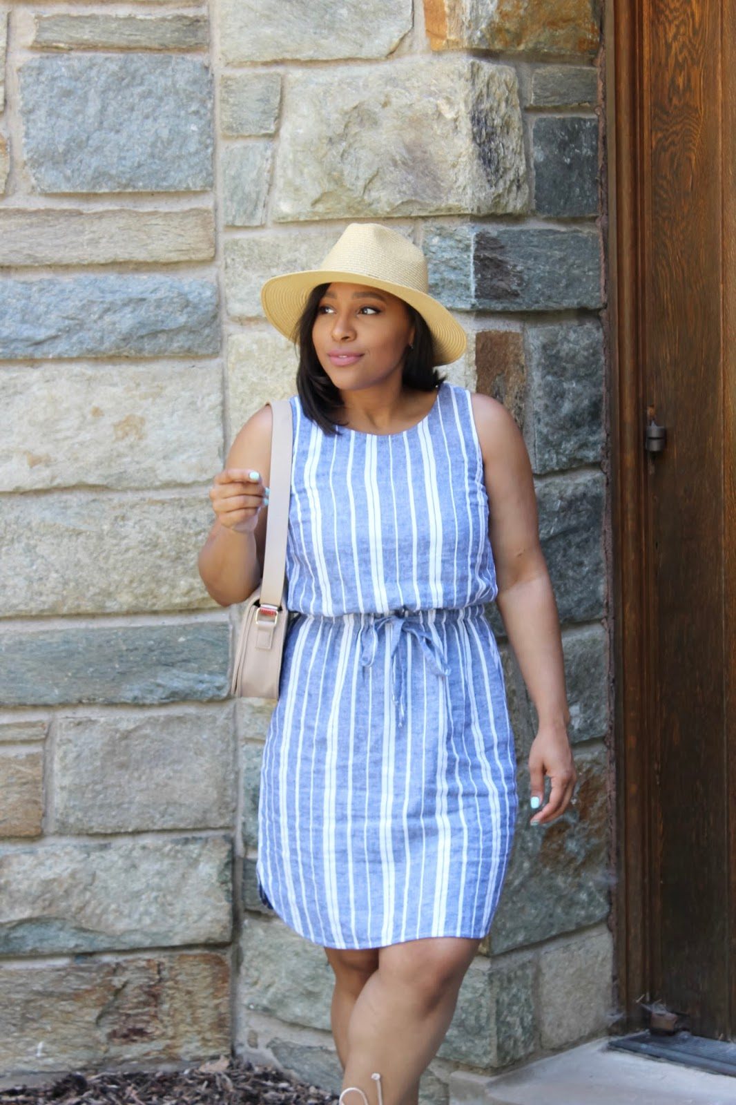 5 Ways To Make The Most Out Of Summer, Old Navy dress, stripe dress, summer outfits, summer activities, pom pom shoes, summer days, dc blogger, straw hat, summer outfit ideas