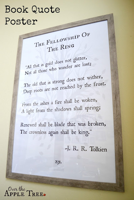 Book Quote poster with engineer prints, Over The Apple Tree