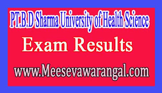 PT.B.D Sharma University of Health Science B.Pharmacy Part-3 Annual May 2016 Exam Results