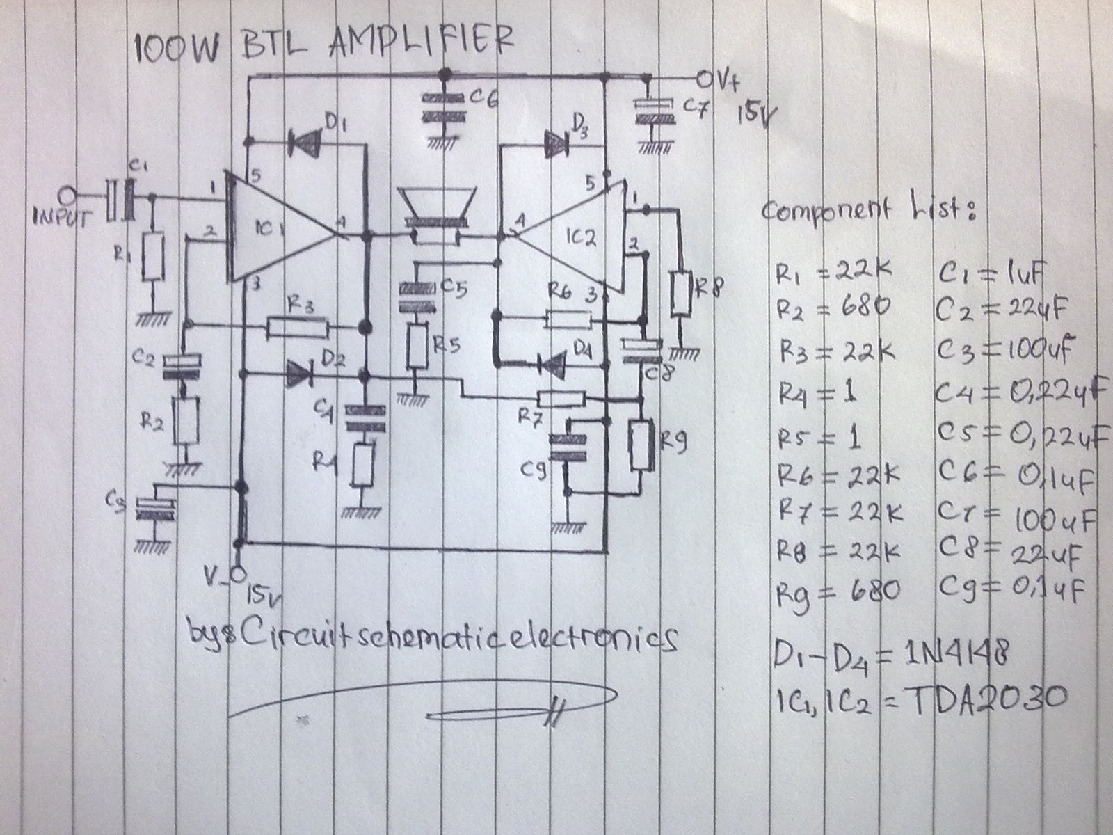 2000w power amplifier circuit diagram iphone schematic and wiring 100w btl tda2030 electronic
