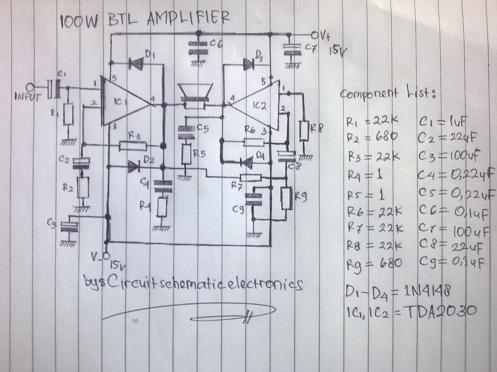 2000w Power Amplifier Circuit Diagram Farmall H Generator Wiring 100w Btl Tda2030 Electronic