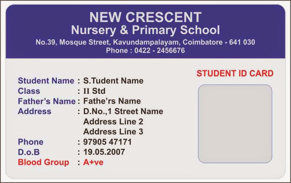 Template Galleries Nursery School ID Card Templates