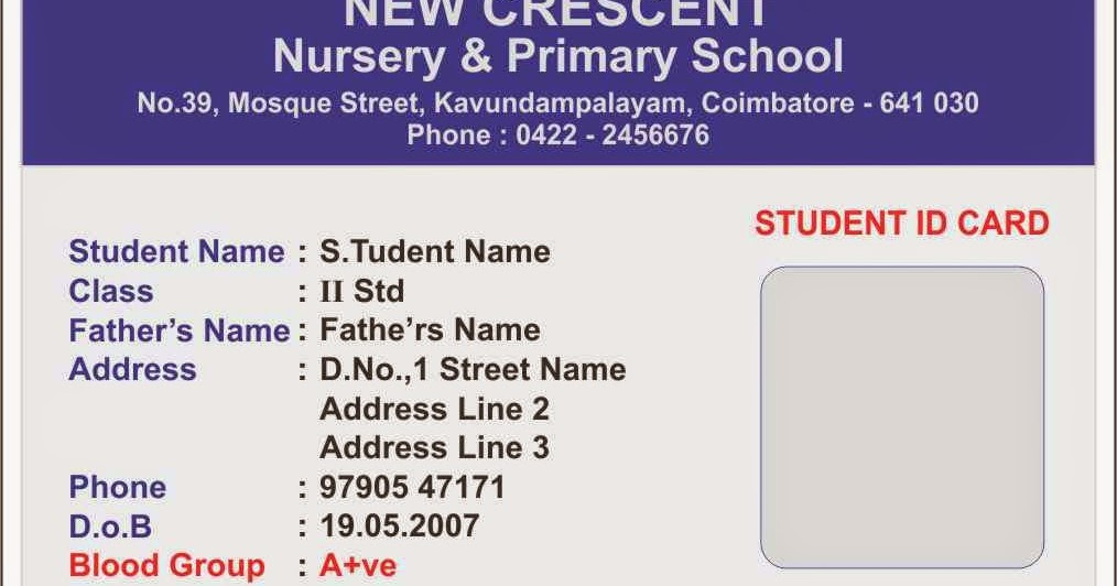 student name card template