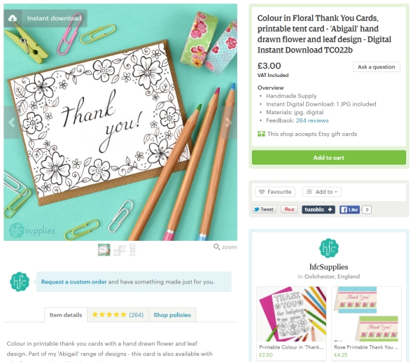 Printables Basics - How to Download digital items Instant Download Etsy, colour in thank you card by hfcSupplies Hazel Fisher Creations