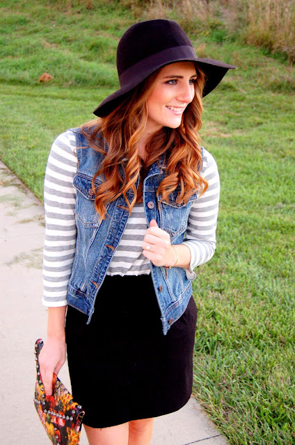 styling a denim vest in the fall