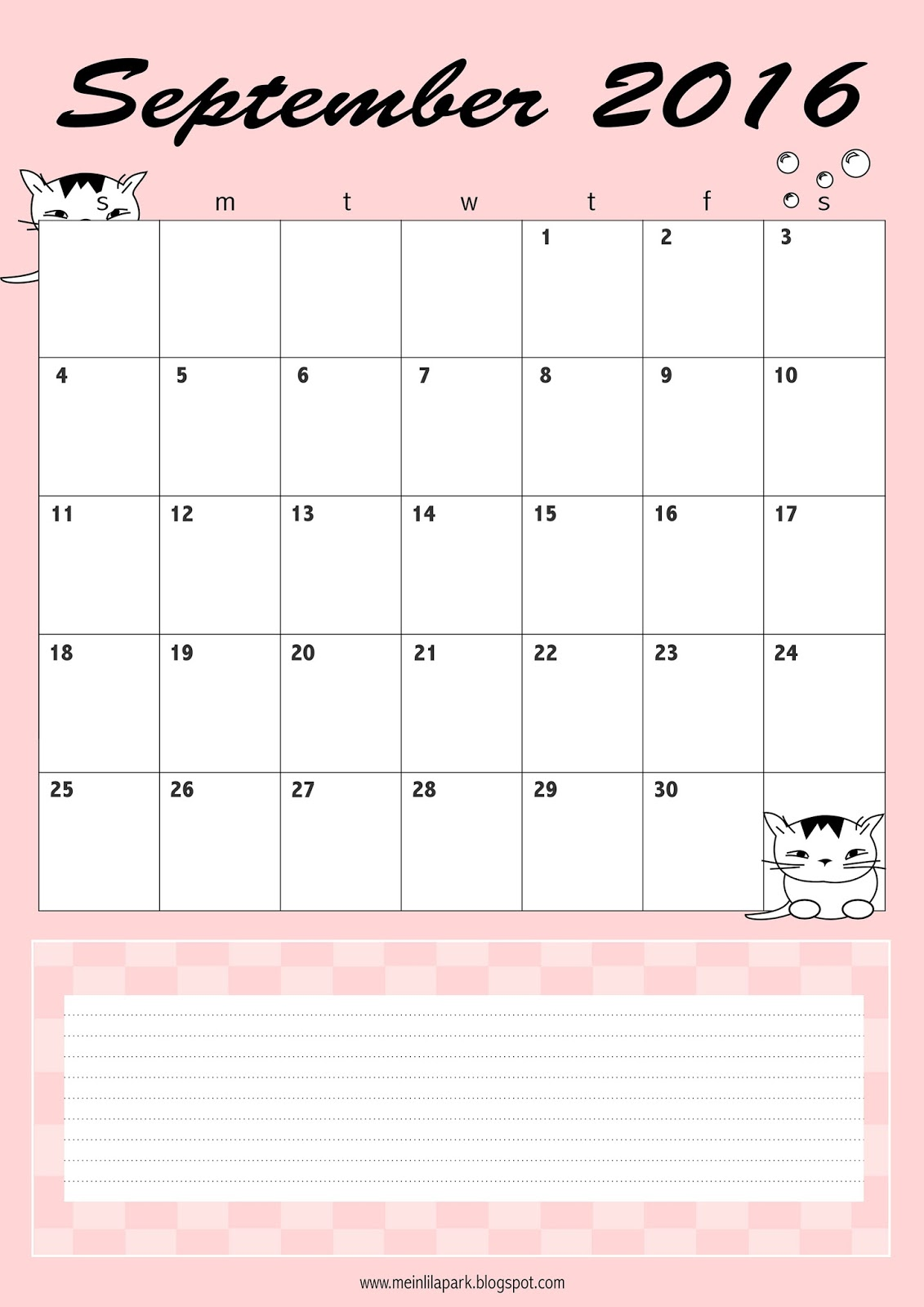 Calendar Planner September : Free printable september calendar planner freebie
