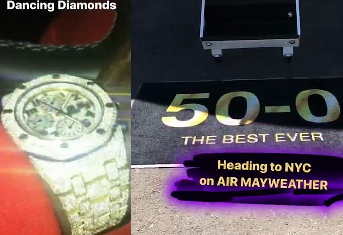 (Photos) Floyd Mayweather shows off his personalised private jet, diamond-encrusted watch and £2m supercar collection