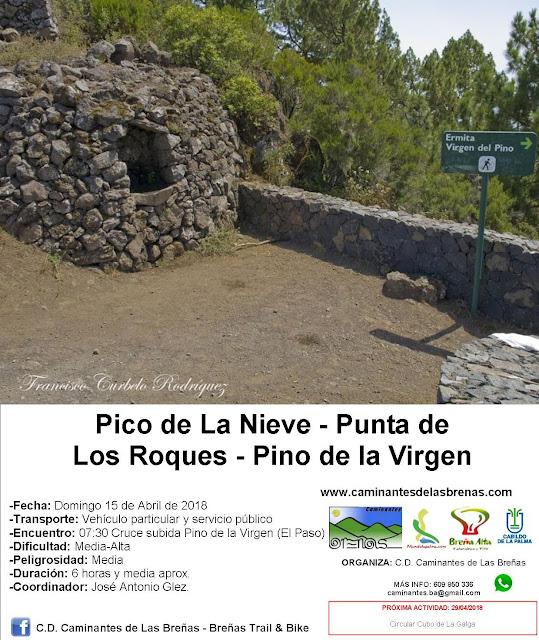 Caminantes de Las Breñas, Domingo 15 de Abril: Pico de La Nieve-Punta de Los Roques-Pino de la Virgen