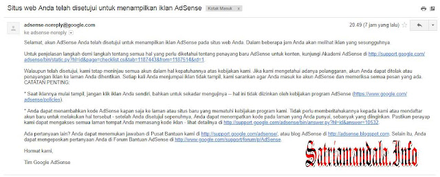 Email Persetujuan Upgrade Akun Adsense Hosted Ke Non Hosted