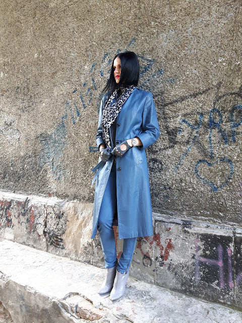 blue leather coat outfit