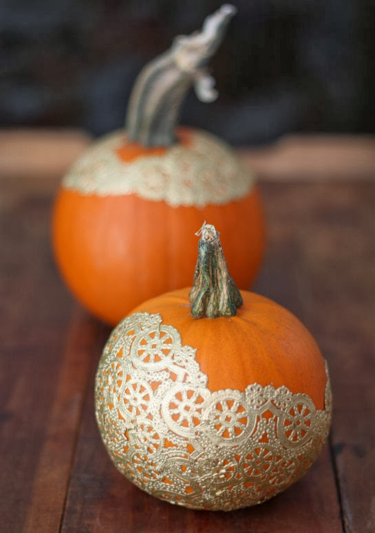 DIY Pumpkin Decorating Golden Doily Pumpkins  17 Apart