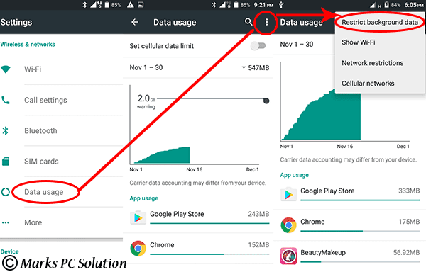 Data Usage > Restrict Background Data