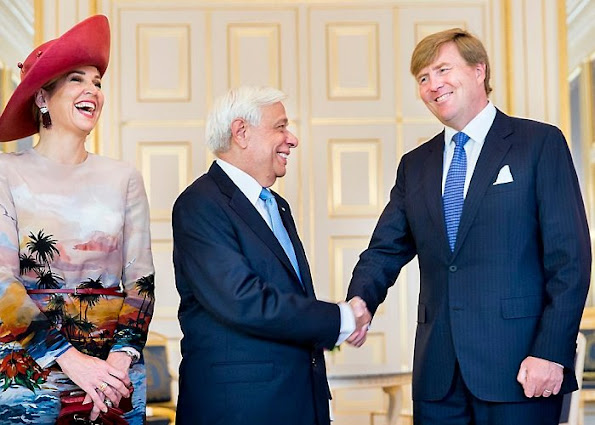 King Willem-Alexander, Queen Máxima, Greek president Prokopis Pavlopoulos, Vlassia Pavlopoulo-Peltsemi Dutch, Netherlands