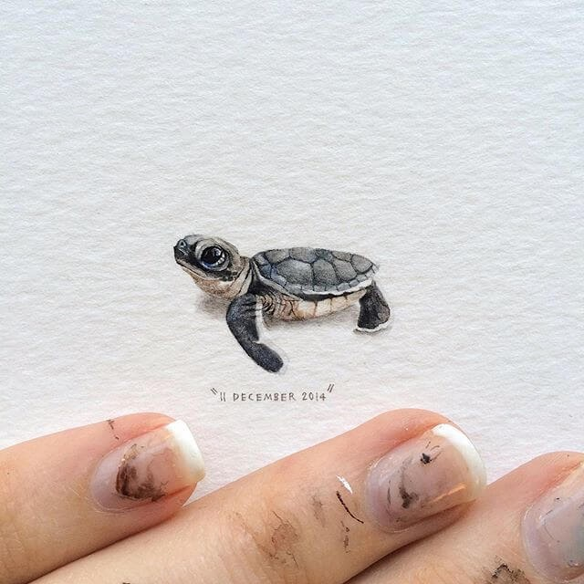 07-Baby-Sea-Turtle-Lorraine-Loots-Tiny-Art-www-designstack-co