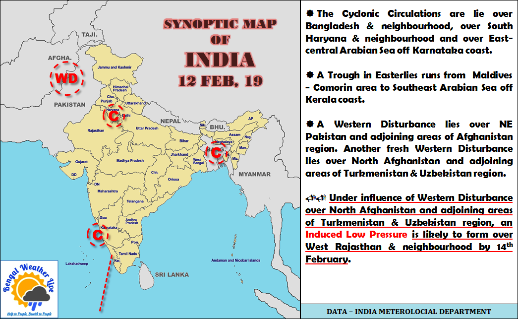Weather Observation Forecast Summary Of India 12 02 2019