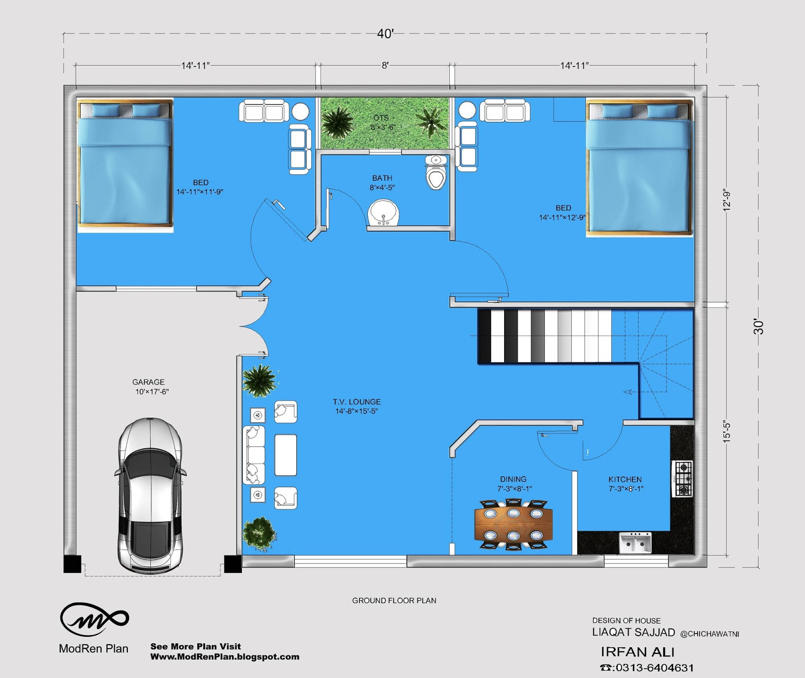 5 marla house plan 30x40 small