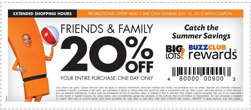 Big Lots Coupon 20 Off Your In Store Purchase Valid Today Only Heavenly Steals