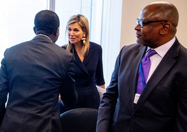 Queen Maxima of Netherlands wore Natan Crepe Jumpsuit. she wore Gianvito Rossi suede pumps. 2018 Spring Meeting in Washington DC