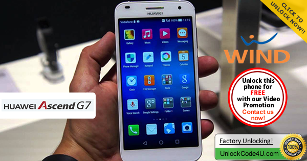 Factory Unlock Code Huawei Ascend G7 from Wind