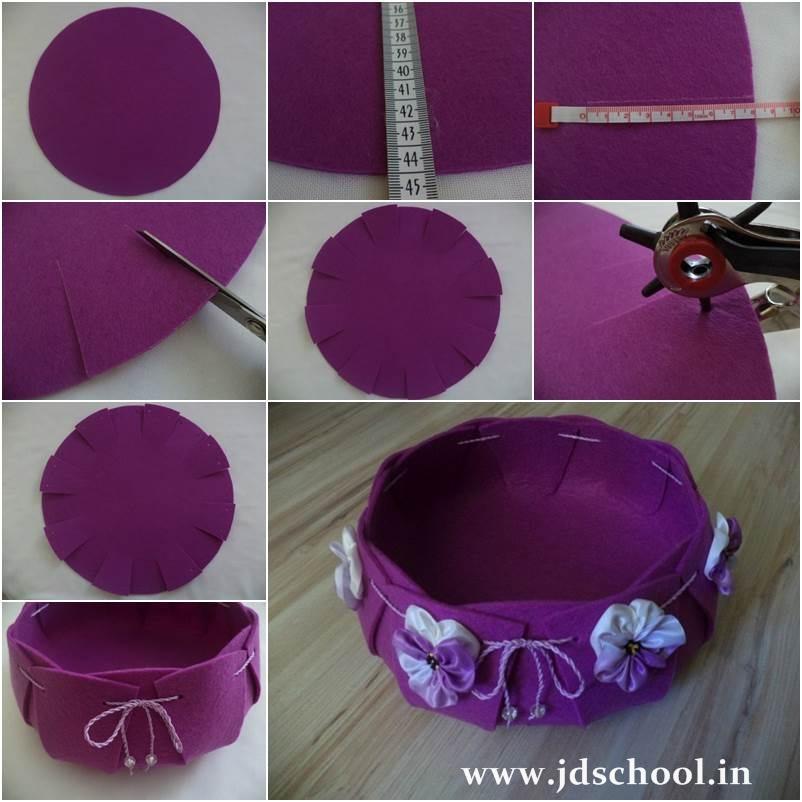 Creative Ideas Easy And Pretty Felt Basket Crazzy Craft