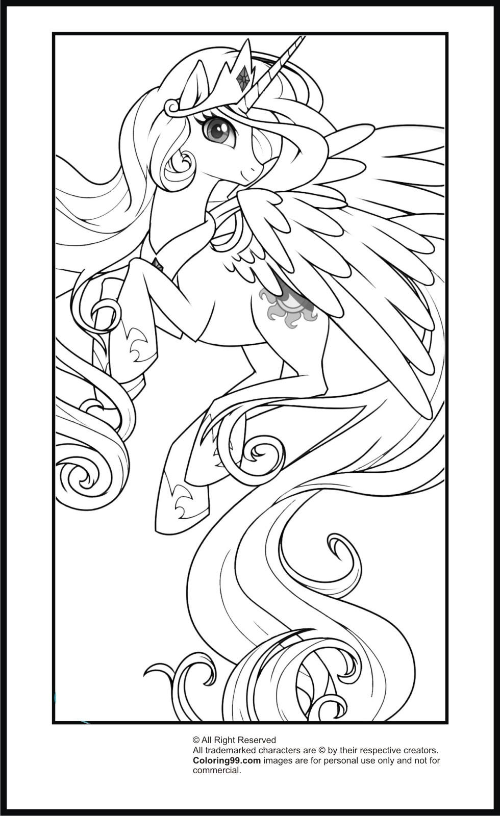 My little pony princess celestia coloring pages team colors for Little princess coloring pages