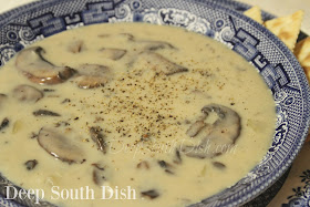 A chicken stock based soup, made with a homemade cream sauce, sauteed vegetables and fresh mushrooms.