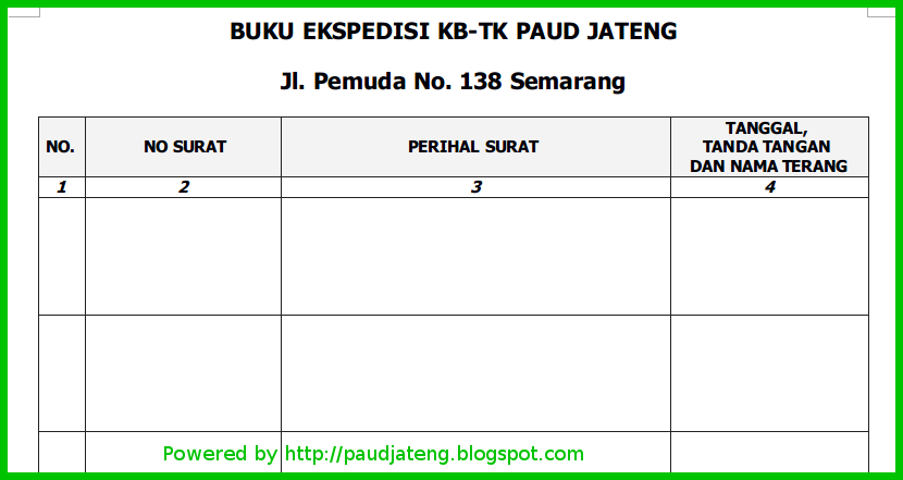 Contoh Format Buku Ekspedisi Lembaga PAUD - PAUD JATENG