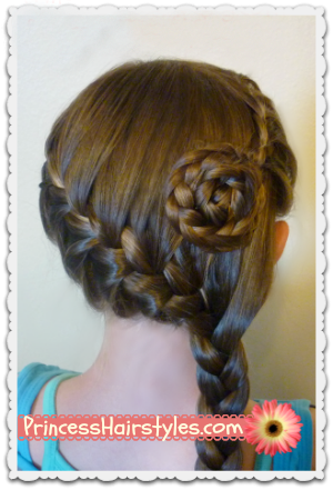 Side Swept French Braid Flower Hairstyle | Hairstyles For ...