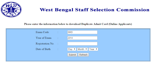 WBSSC admit card 2015 CGL-14 test