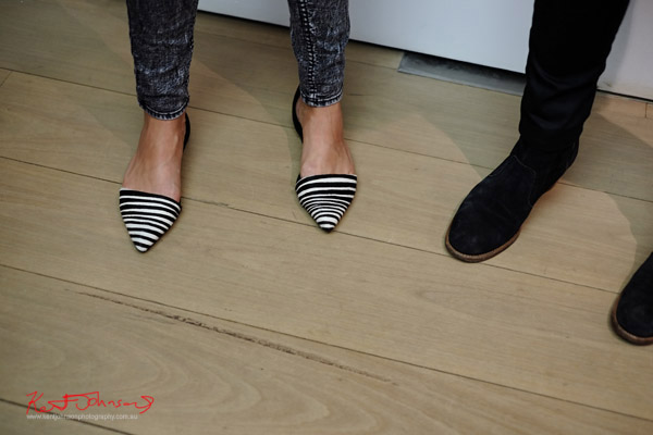 Pointy Zebra stripe slip ons - black suede slip on.