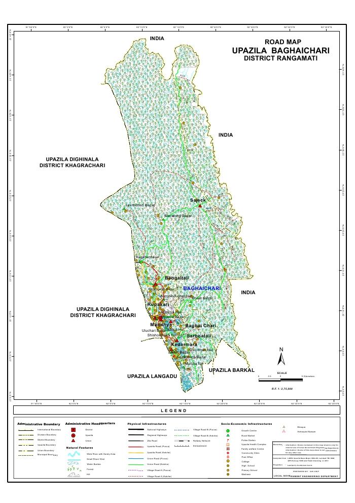 Baghaichari Upazila Road Map Rangamati District Bangladesh