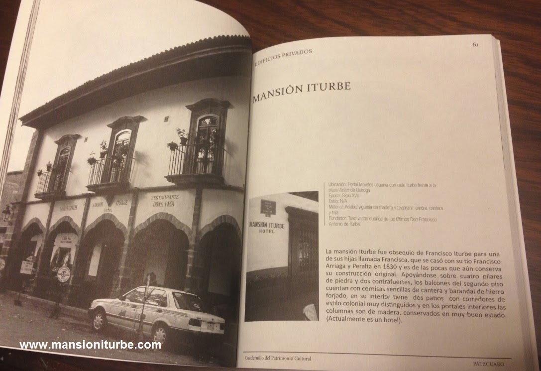 The booklet about the Cultural Heritage of Pátzcuaro includes Hotel Mansion Iturbe