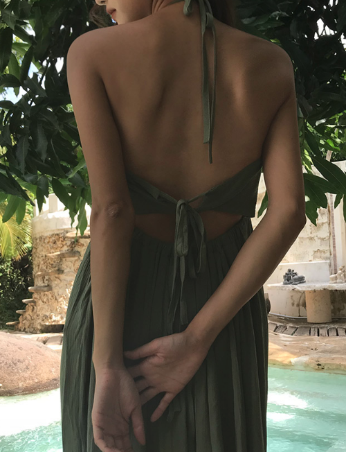 Self-Tie Back Halter Dress