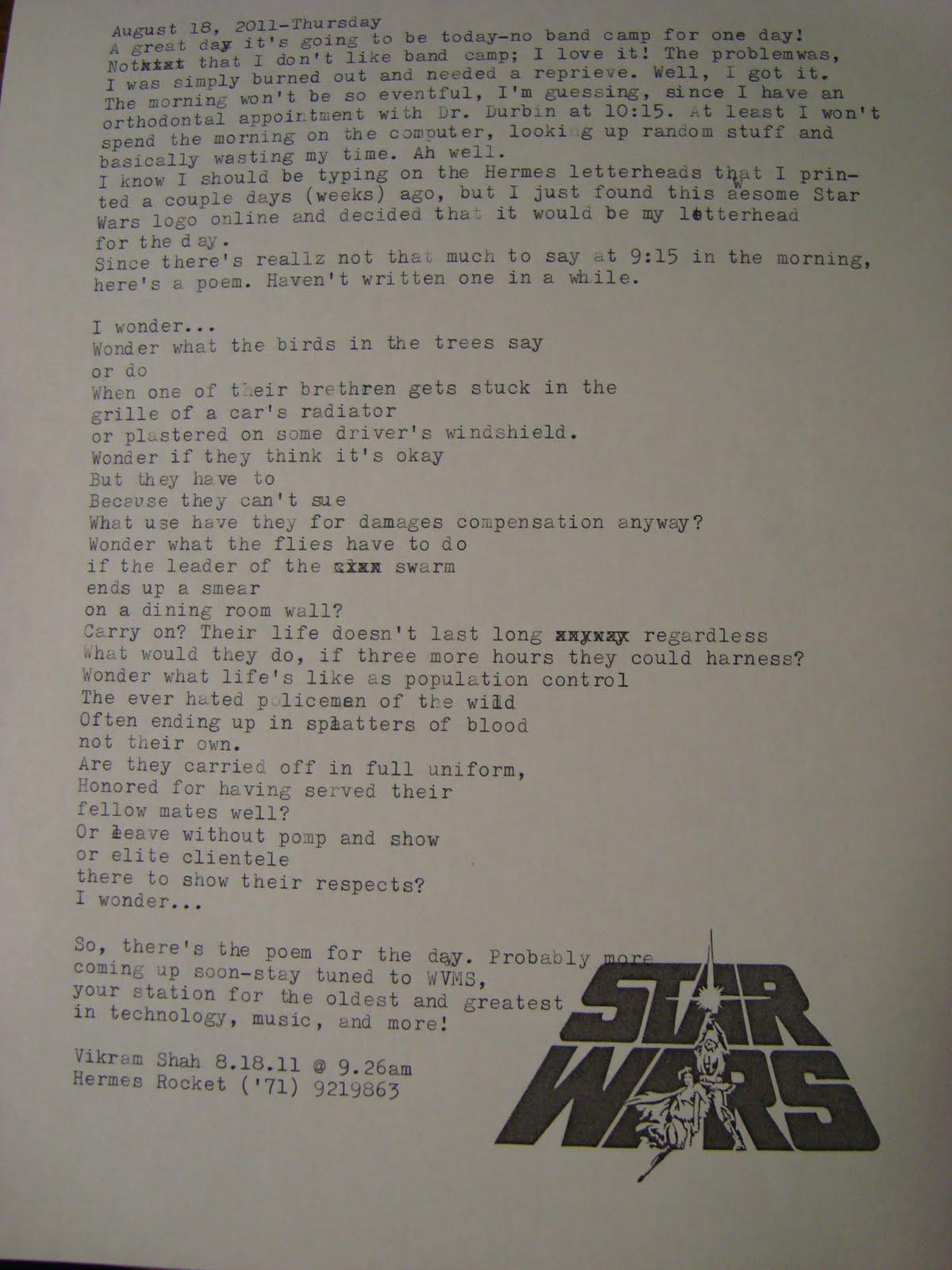 Coolstuff I Wonder Typecast Poem