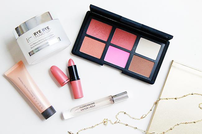 Becca Skin Perfector, It Cosmetics Bye Bye Makeup, Nars Cheek Palette, MAC Lipstick, Flowerbomb