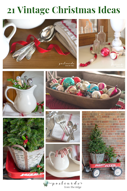 various vintage items used as Christmas decor