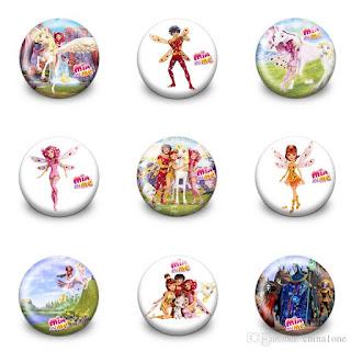 10 Spille pins badge zaino scuola Mia e Me in 3D braccialetti in silicone personalizzati gadget regalini fine festa a tema compleanno bambine